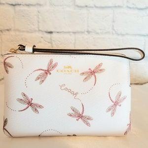 Coach Dragonfly Design Corner Zip Wristlet Wallet
